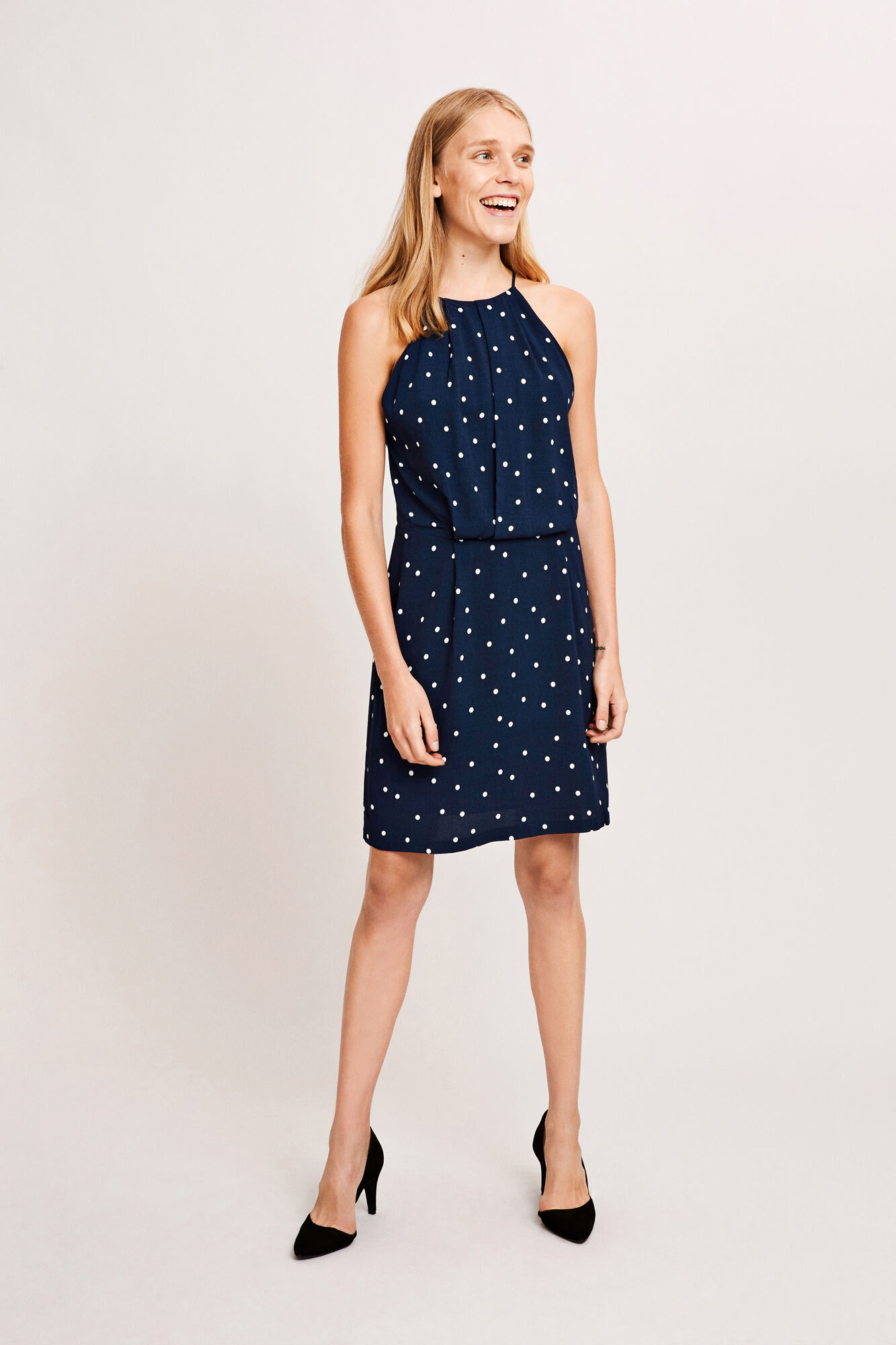 Willow short dress aop 5687, NAVY DOTTED AOP