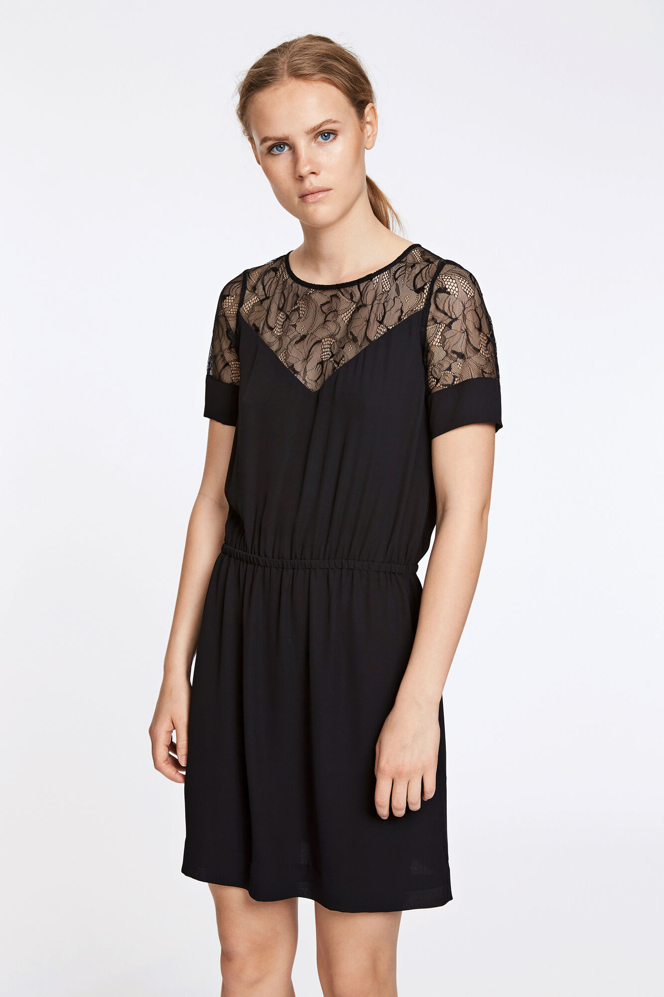 Biaf lace ss dress 6891, BLACK