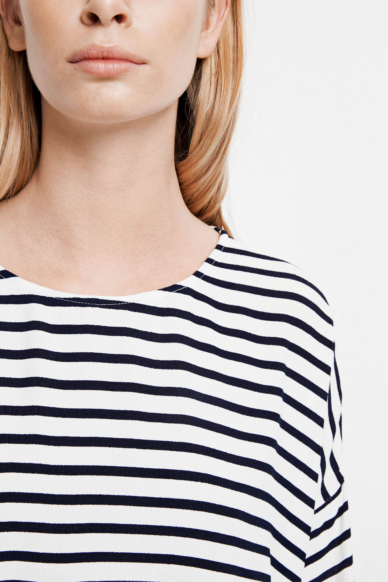 Mains tee stripe 5687, BLUECREAM SMALL