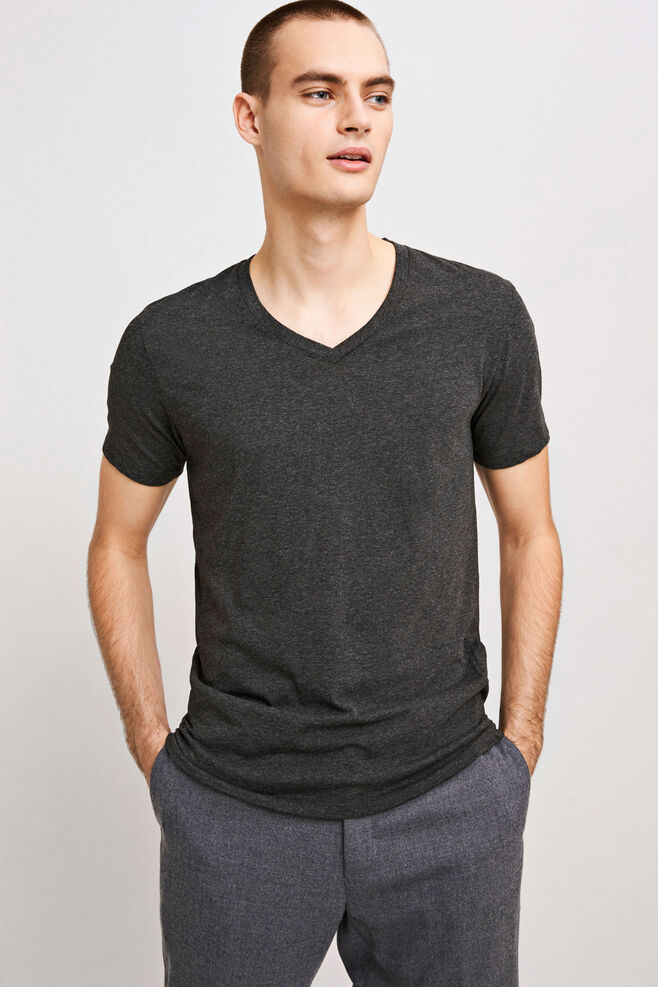 Marian male v-neck basic 273, BLACK MEL.