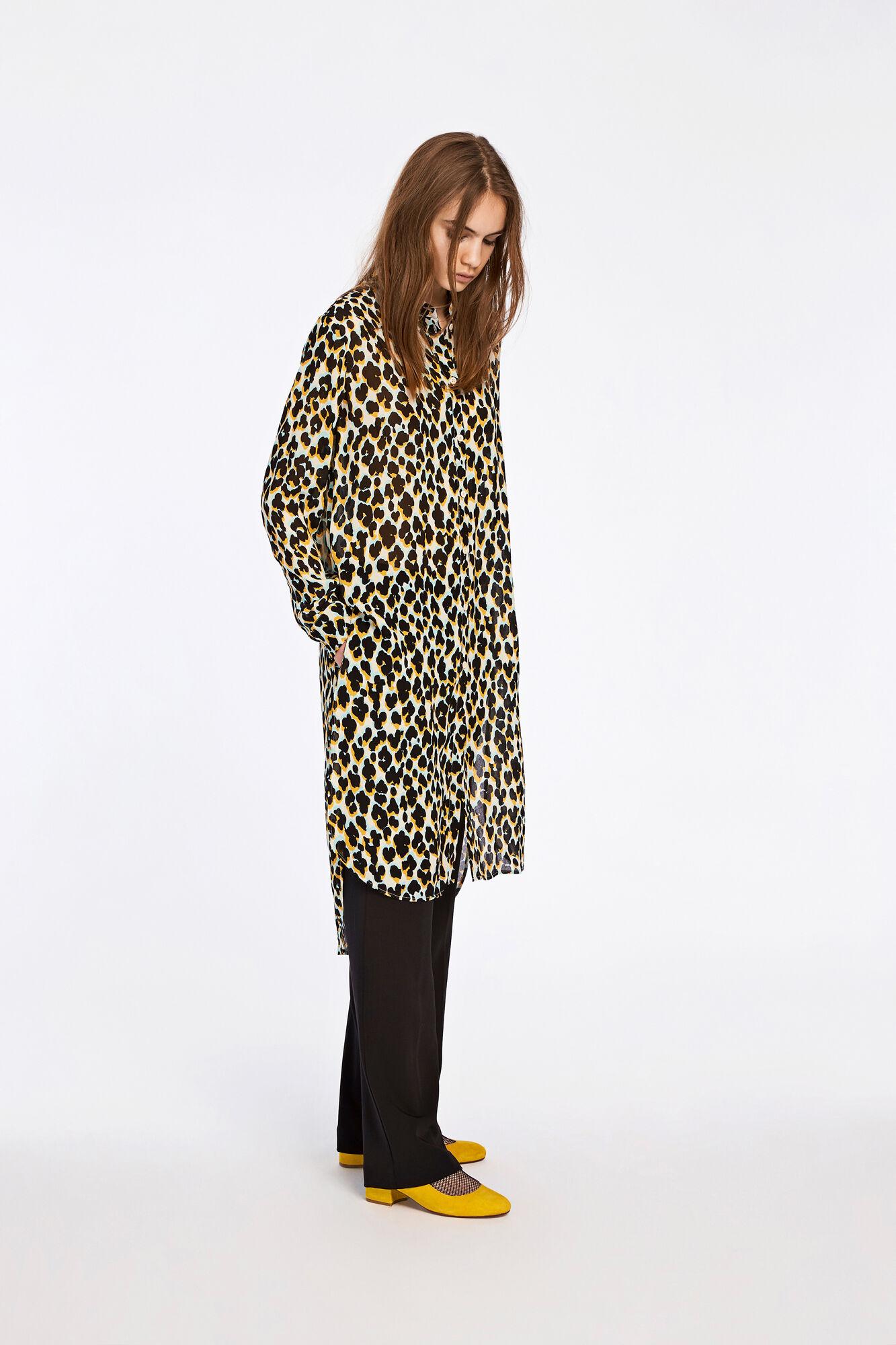 Riss shirt dress aop 3902, LEOPARD JAUNE