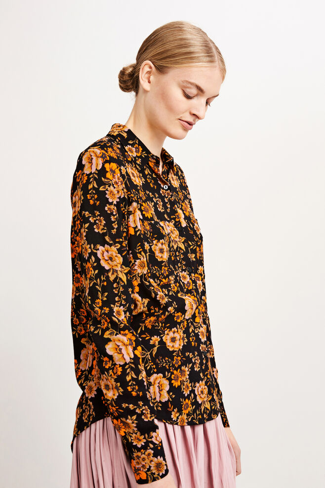 Milly shirt aop 7201, BLACK BLOOM