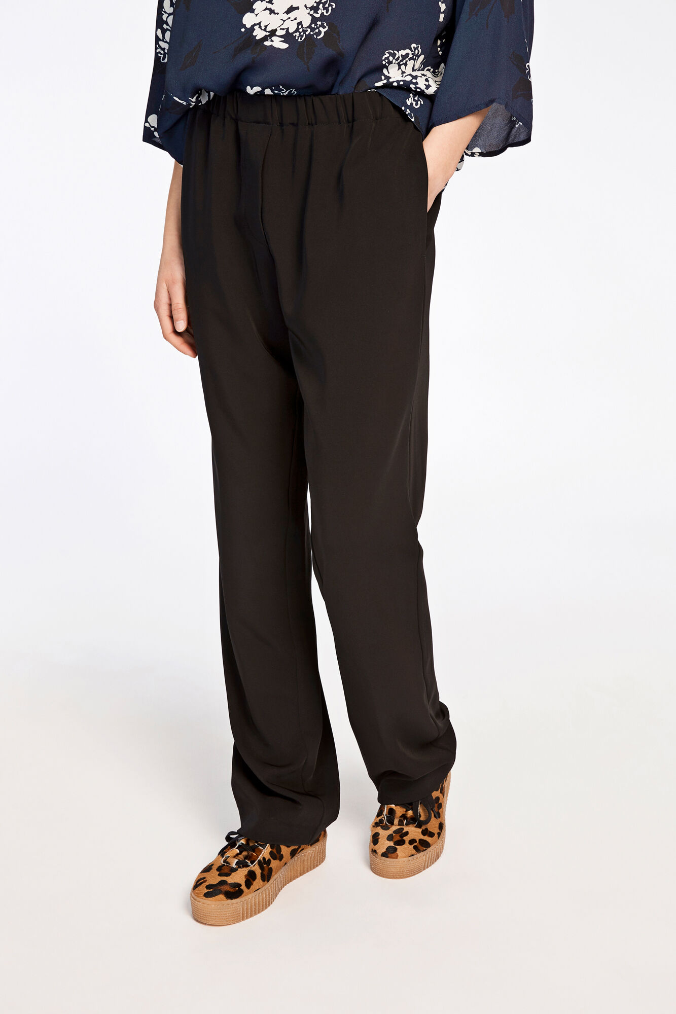 Hoys straight pants 7331, BLACK