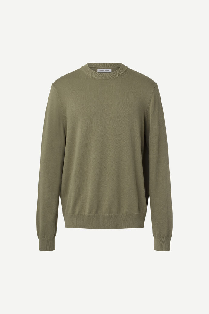 Thijs crew neck 13062, DEEP LICHEN GREEN