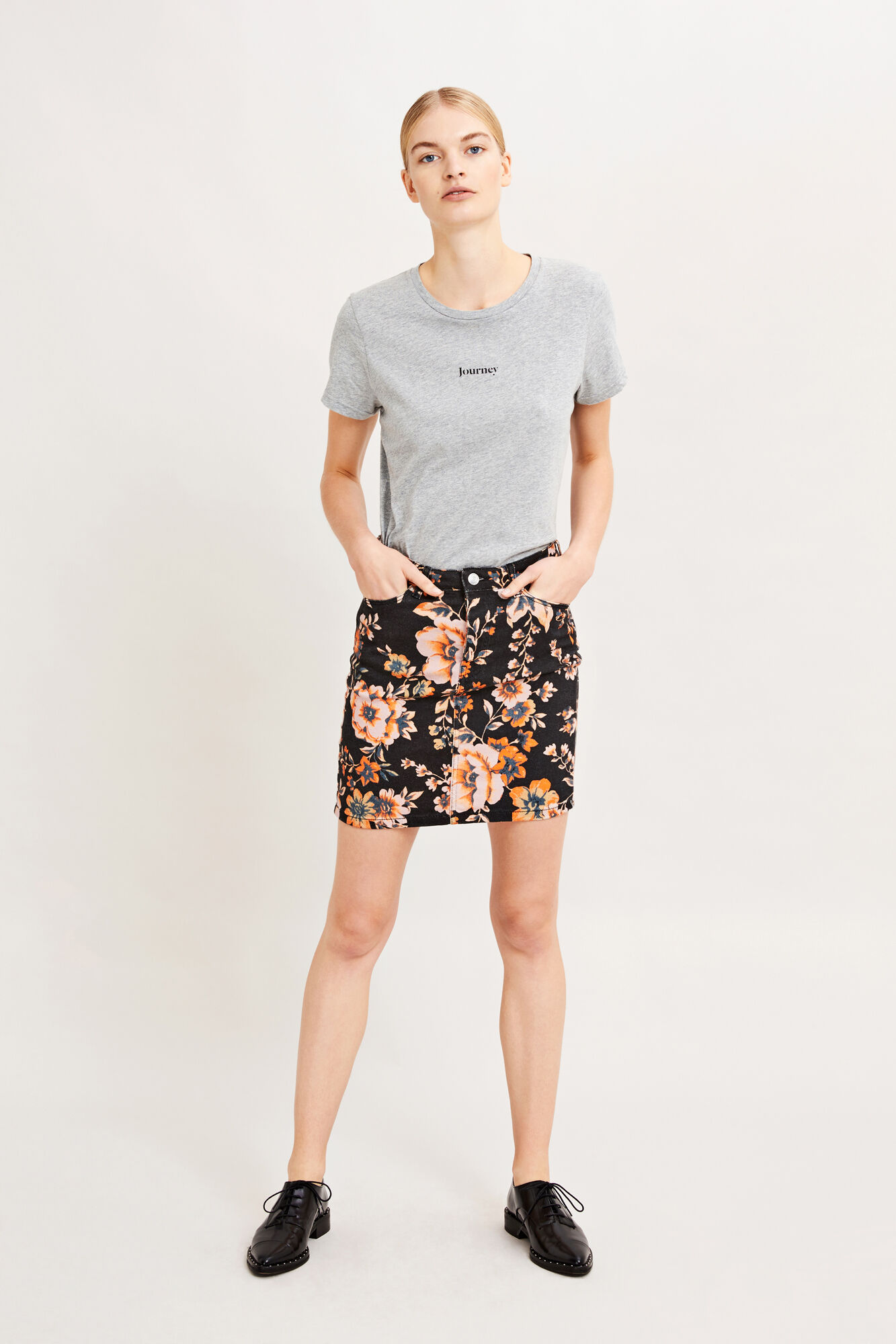 Pamela skirt 9349, BLACK BLOOM