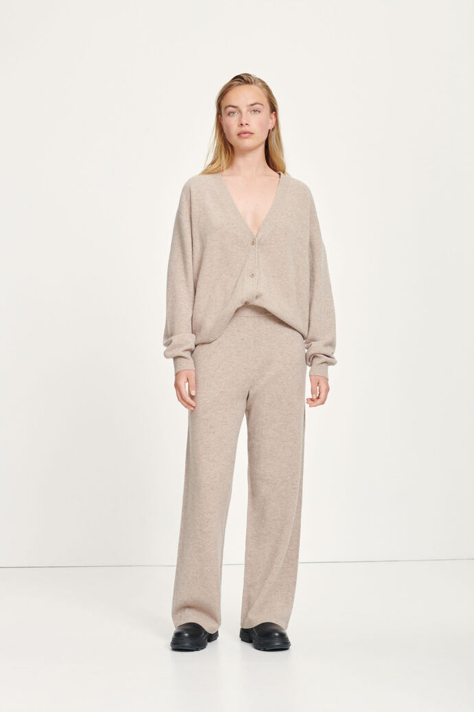 Amaris straight trousers 12758, KHAKI MEL.