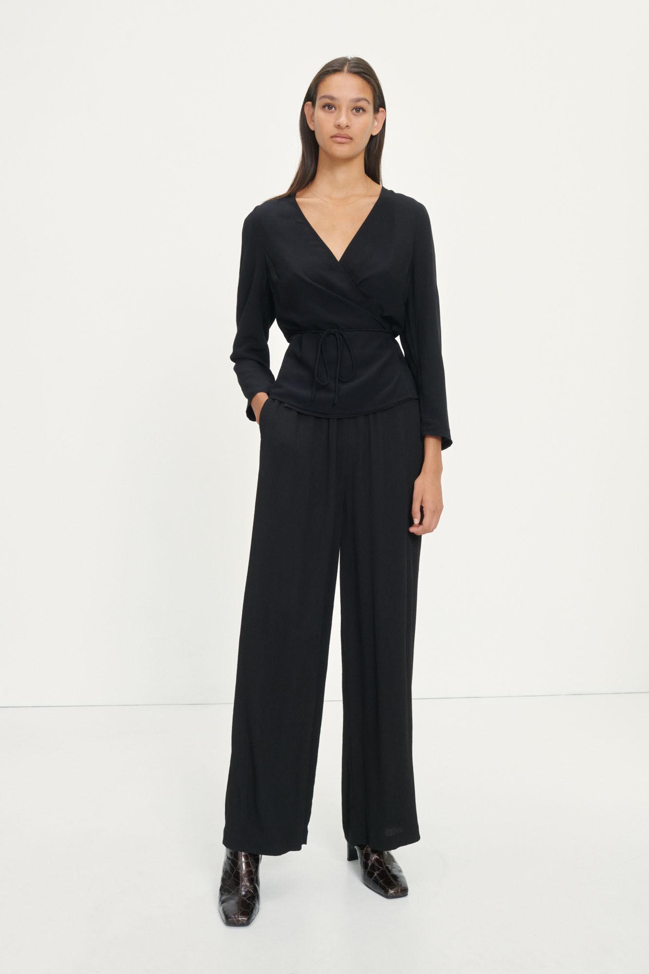 Britt wrap blouse 10864, BLACK