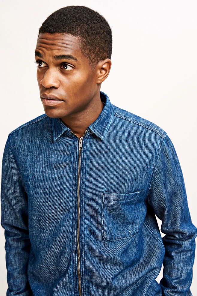 Walt zip overshirt 9750, DARK BLUE DENIM