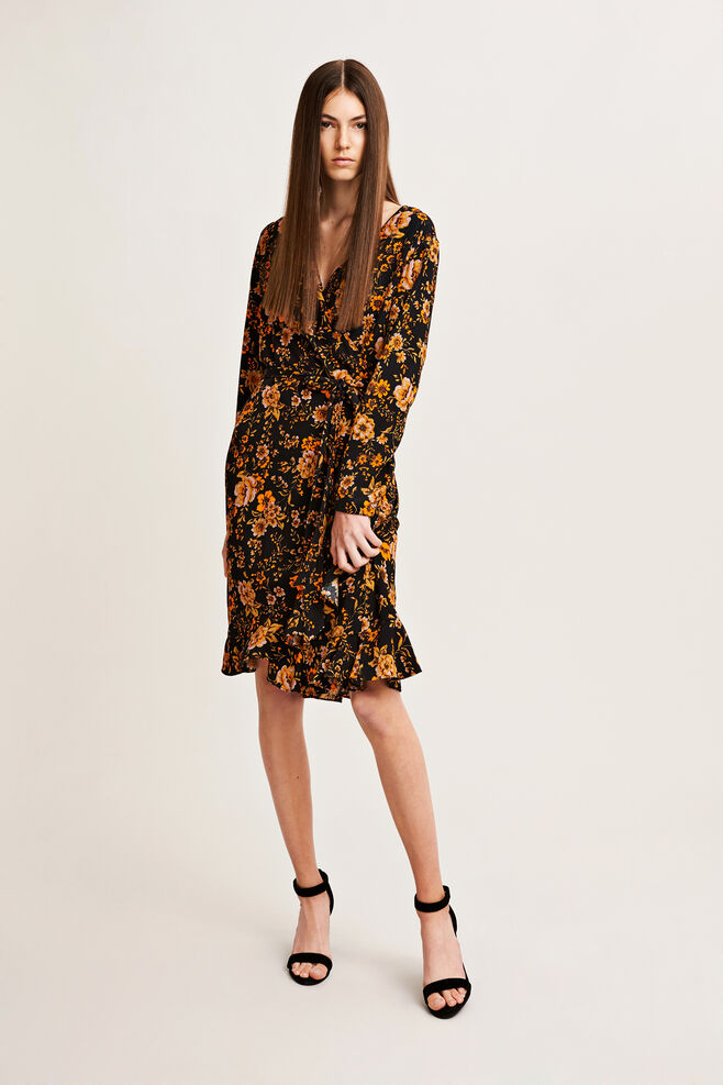Limon ls dress aop 6515, BLACK BLOOM