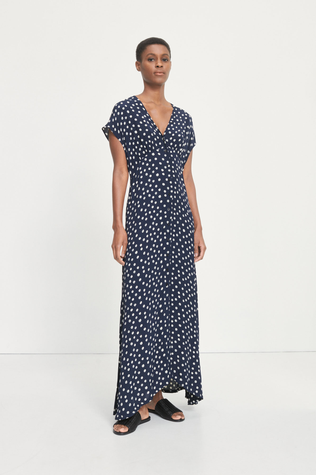 Valerie long dress aop 10867, BLUE DOODLE DOT