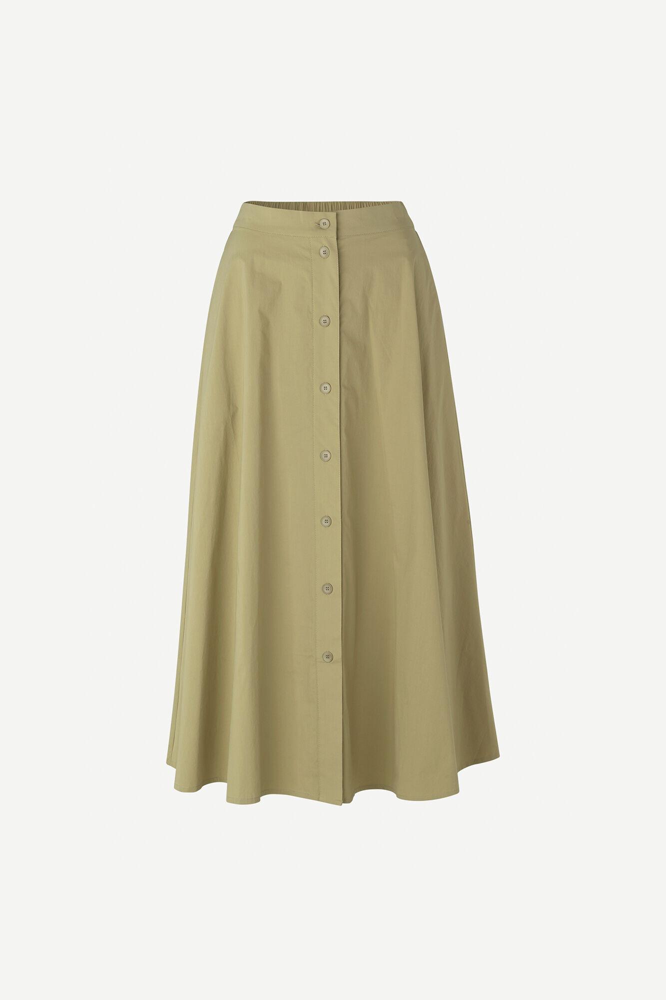 Barbara long skirt 10783, OLIVE GREY