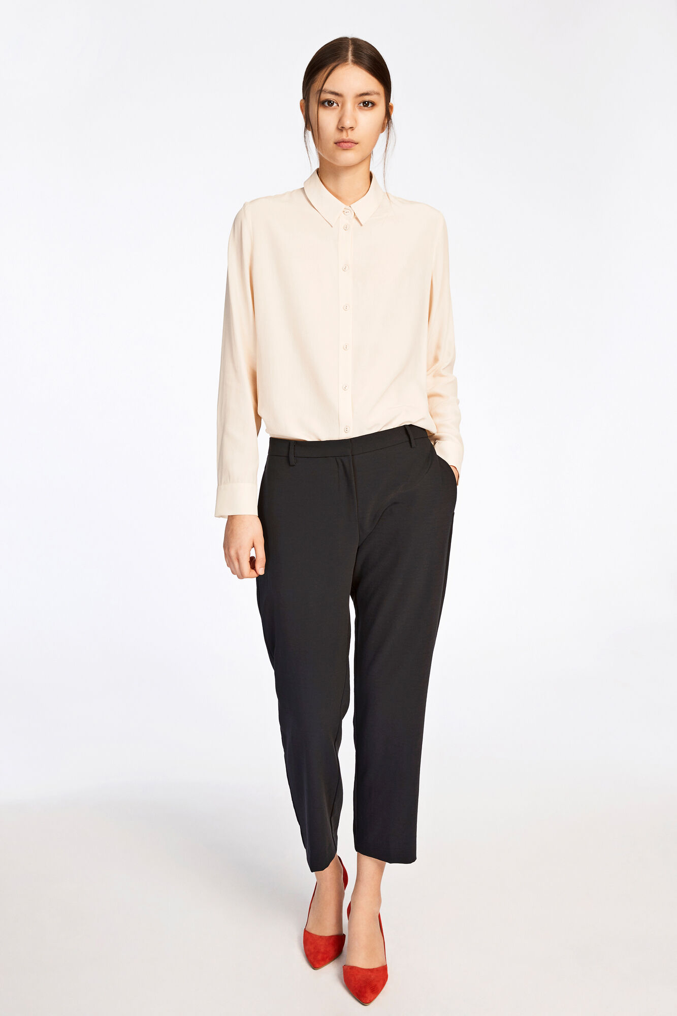 Louise crop pants 8281, BLACK