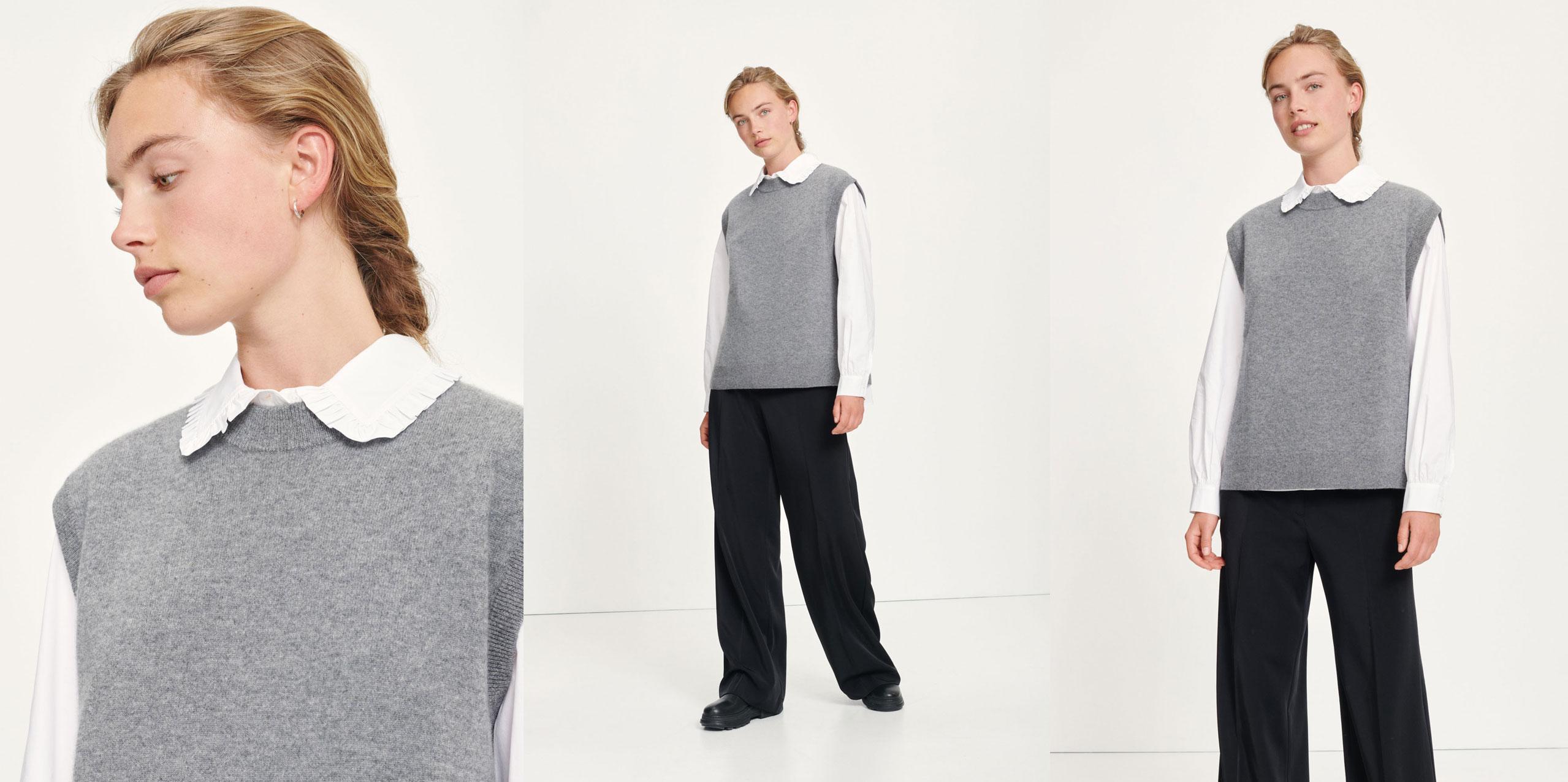 Nola vest mid grey mel Damemode