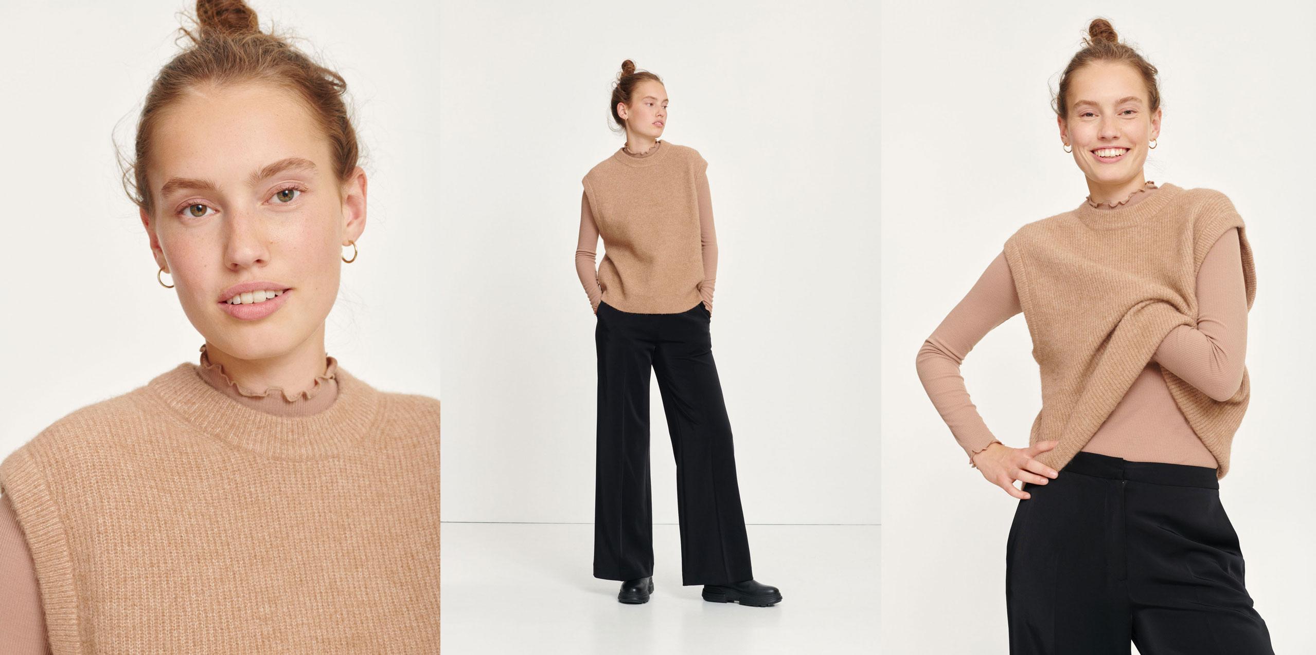 Nor vest camel mel Women's fashion